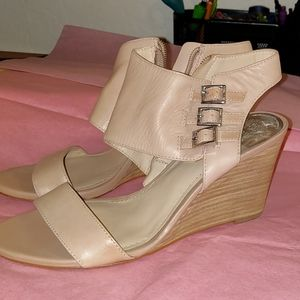 Vince Camuto nude wedge sandals Sz 8